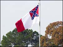A Confederate flag flies above a civil war museum in Bentonville