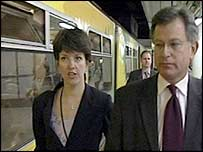 Jo Moore with the then transport secretary Stephen Byers