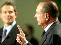Chirac raises a finger to emphasise a point to Tony Blair