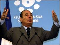Jacques Chirac, arms aloft
