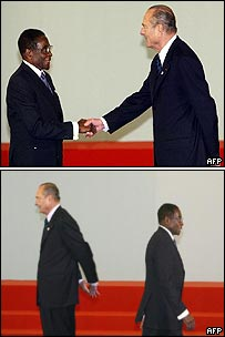 President Mugabe and President Chirac meet at the Franco-African summit