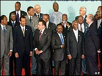 African leaders and Jacques Chirac in Paris