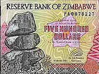 A 500 Zimbabwe dollar note