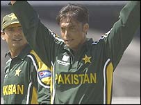 Pakistan's Shoaib Akhtar delivers a ball at over 100mph against England at the World Cup.