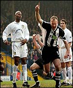 Alan Shearer celebrates his 18th goal of the season in the win over Leeds