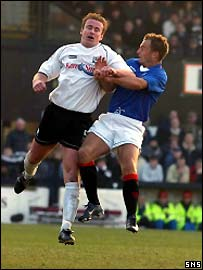 Rangers' Ronald de Boer scores the only goal of the game