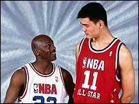 Michael Jordan (left) with Yao Ming
