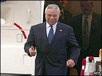 US Secretary of State Colin Powell arrives in Beijing