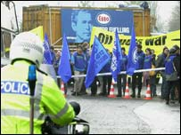 Protesters gather at the Esso HQ in Leatherhead, Surrey
