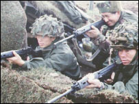 Gurkha soldiers on training exercise