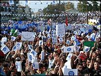 Turkish demonstrators wave EU flags