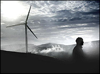 A worker at the Powergen wind farm near Peebles