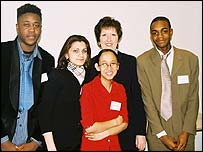 Sue Mercer of Sainsbury's, with students at a businessdynamics event