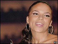 Ms Dynamite receiving the best urban act award at the Brits