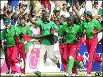Kenya celebrate their World Cup defeat of Sri Lanka