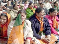 BJP supporters listen to senior leaders in Shimla