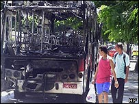 Rio residents look at burned-out buses