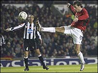 Ruud van Nistelrooy scores for Man Utd against Juventus at Old Trafford