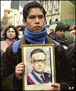 Young supporter holds portrait of President Allende