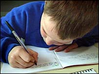 Primary school boy writing