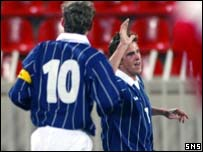 Andy Gray celebrates putting Scotland ahead