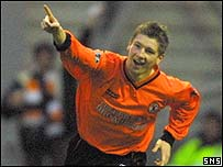 Mark Wilson celebrates his first goal for the club