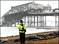 The collapsed West Pier