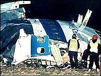 Remains of bombed airliner at Lockerbie
