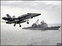 US plane takes off from carrier in the Gulf