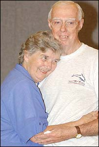 Derek Bond and his wife Audrey after his release