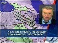 Picture of Zhirinovsky beside a map of the region showing Georgia and Iraq