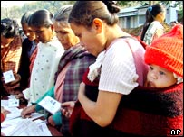 Tribal women vote in Meghalaya