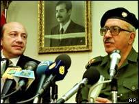Russian foreign minister Igor Ivanov and Iraqi Deputy Prime Minister Tariq Aziz