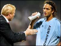 Ajax coach Ronald Koeman and striker Ahmed 'Mido' Hossam