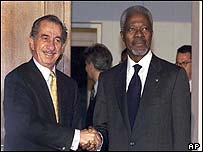 Tassos Papadopoulos and Kofi Annan