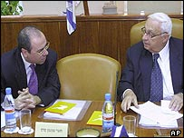 Silvan Shalom (left) and Ariel Sharon
