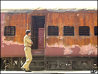The burned train at Godhra