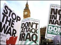 Anti-war placards in London
