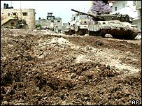 Israeli tanks in Jenin, April 2002