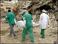 Medical workers take away an injured Palestinian boy, April 2002