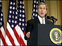 President Bush making his speech at the American Enterprise Institute, 26 Feb 2003