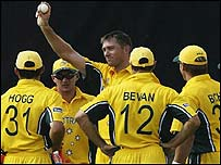 Glenn McGrath celebrates his 7-15 against Namibia