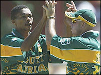 South Africa's Makhaya Ntini (left)