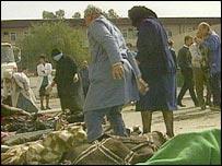 The scene outside the Amirya bomb shelter