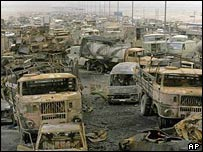 Bombed out vehicles on the Basra-Kuwait road