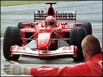 Michael Schumacher tests his Ferrari at Jerez
