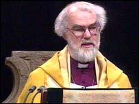 Archbishop of Canterbury Dr Rowan Williams speaking during his enthronement