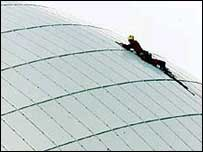 Greenpeace campaigner Paul Schot scales Sizewell B