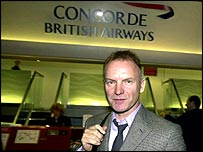 Sting at Concorde terminal