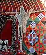 Leopard skin in yurt   Alex Kirby